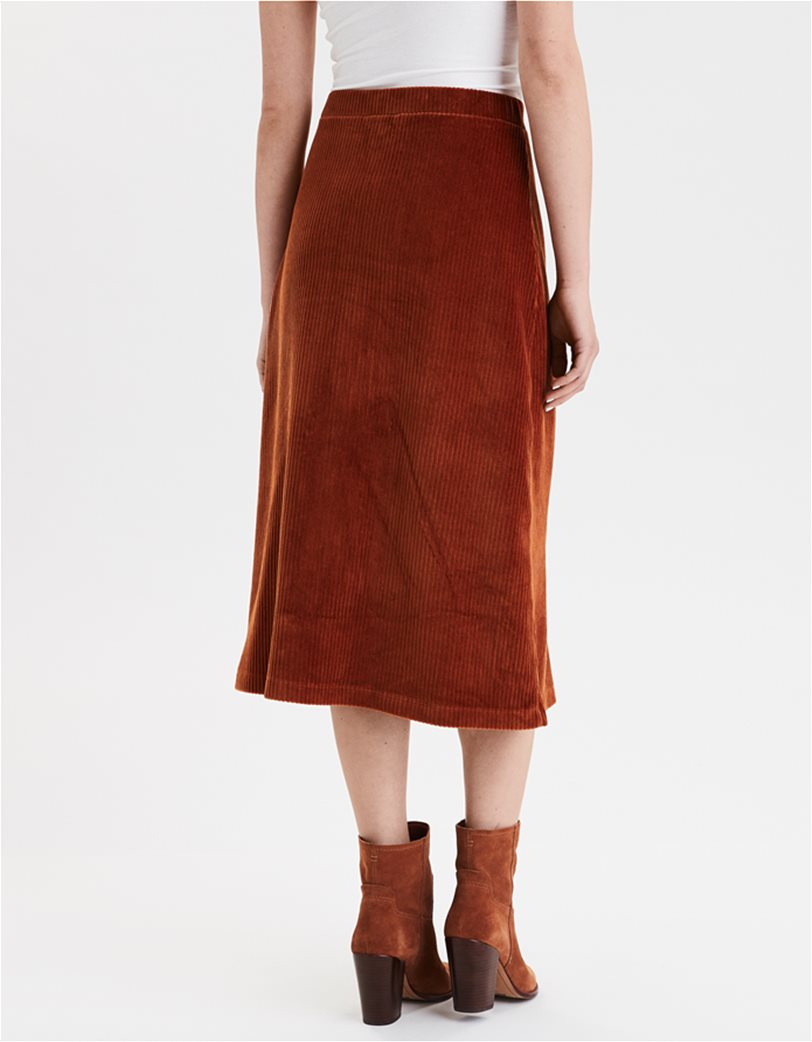 AE High-Waisted Corduroy Button Front Midi Skirt 1