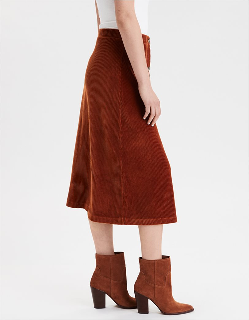 AE High-Waisted Corduroy Button Front Midi Skirt 2