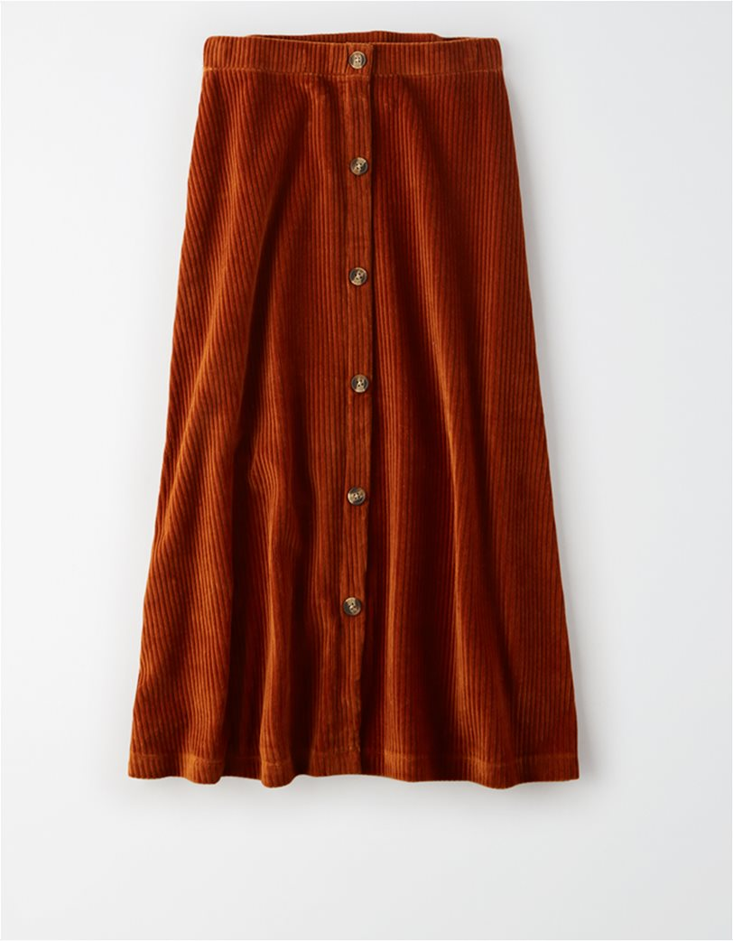 AE High-Waisted Corduroy Button Front Midi Skirt 3