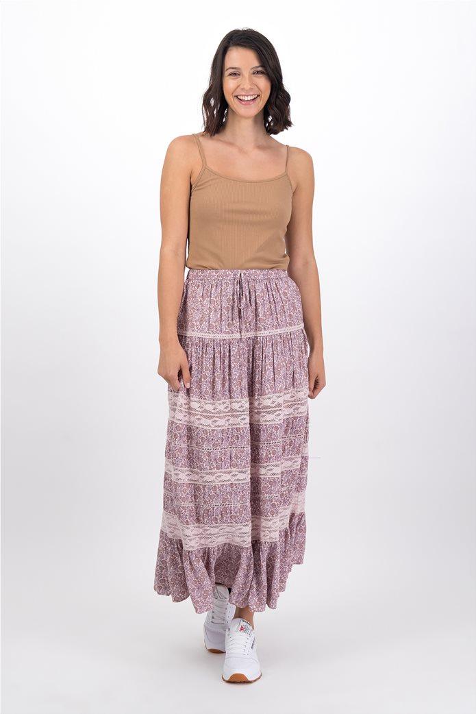 AE Tiered Midi Skirt Ροζ 0