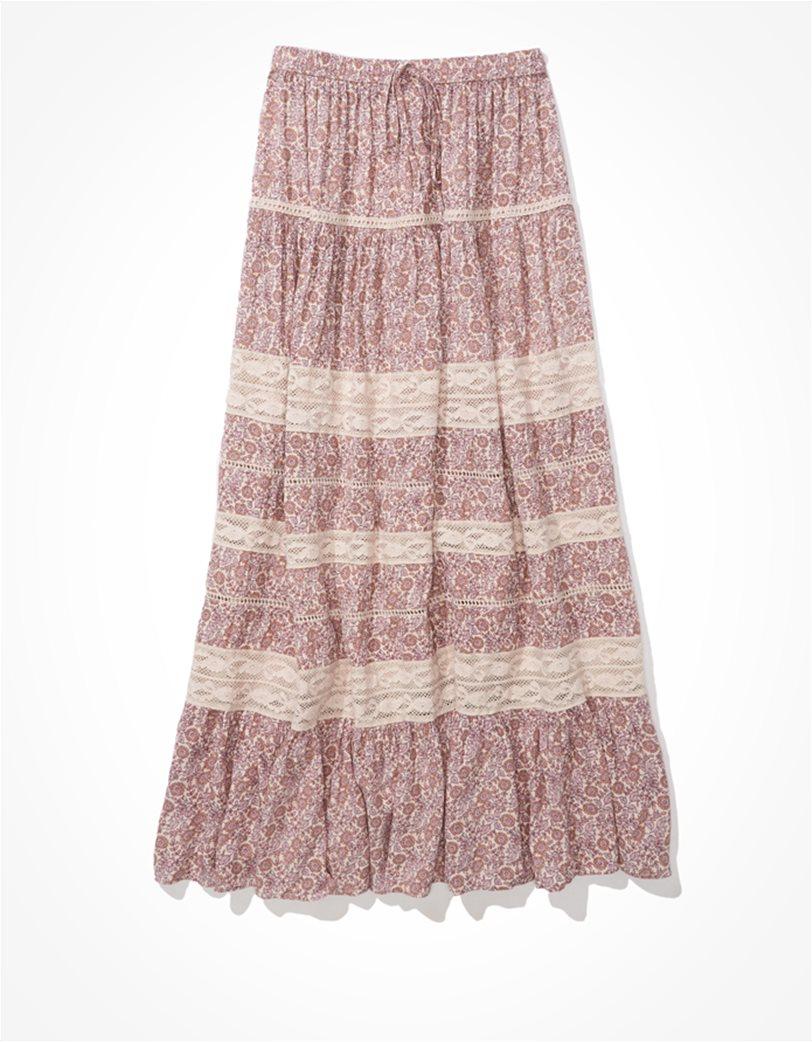AE Tiered Midi Skirt Ροζ 2
