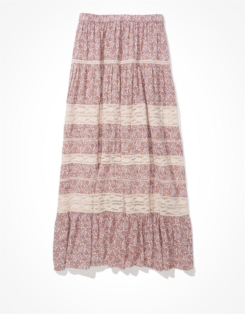 AE Tiered Midi Skirt Ροζ 3