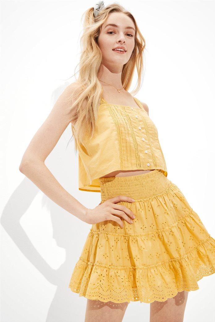 AE Solid Eyelet Tiered Mini Skirt Κίτρινο 0