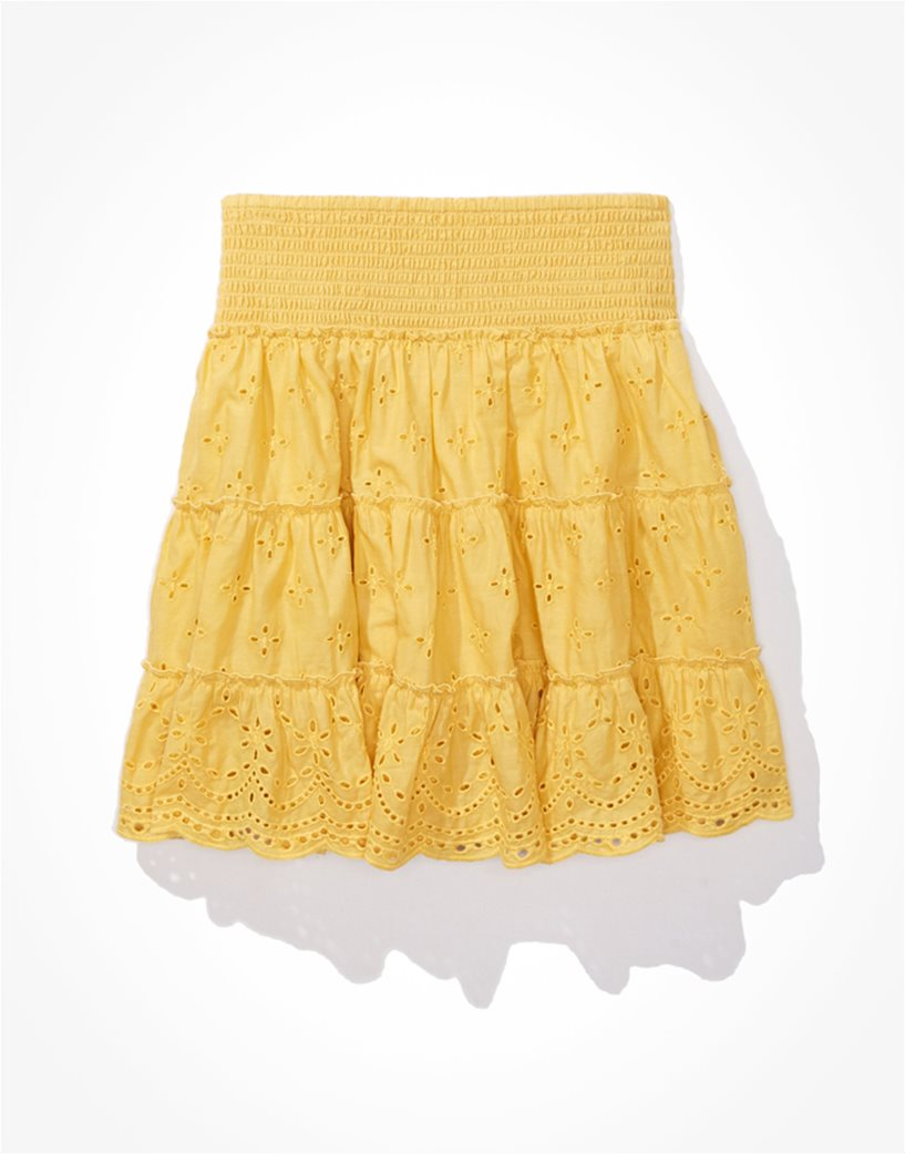 AE Solid Eyelet Tiered Mini Skirt Κίτρινο 2