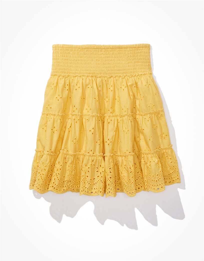 AE Solid Eyelet Tiered Mini Skirt Κίτρινο 3