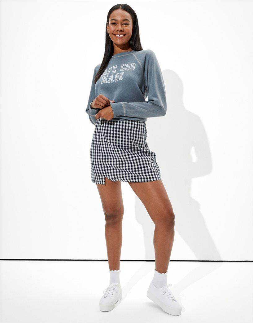 AE Gingham Notched Mini Skirt Μπλε Σκούρο 1