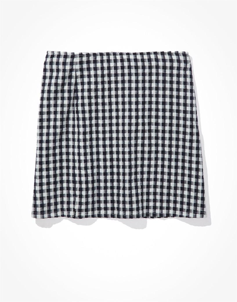 AE Gingham Notched Mini Skirt Μπλε Σκούρο 3