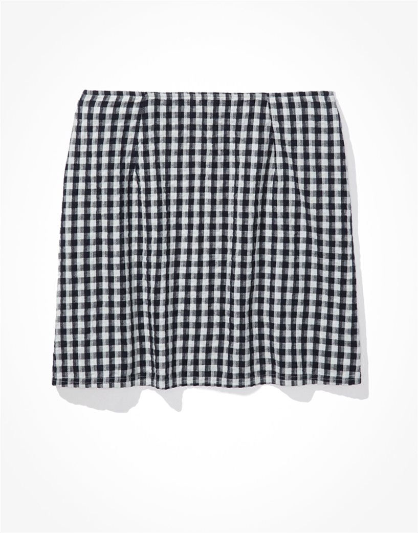 AE Gingham Notched Mini Skirt Μπλε Σκούρο 4