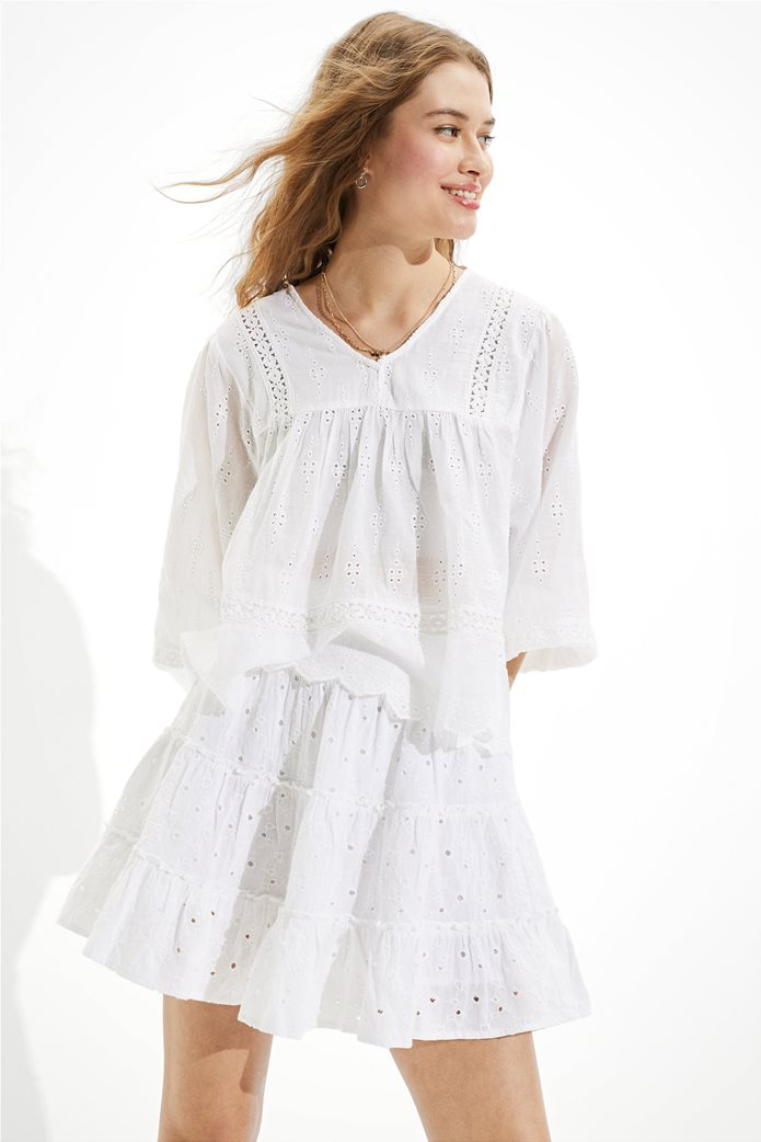 AE Solid Eyelet Tiered Mini Skirt Λευκό 0