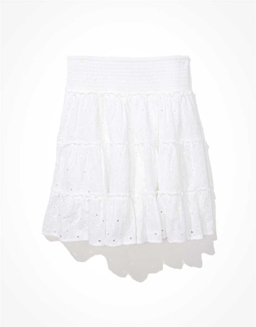 AE Solid Eyelet Tiered Mini Skirt Λευκό 2