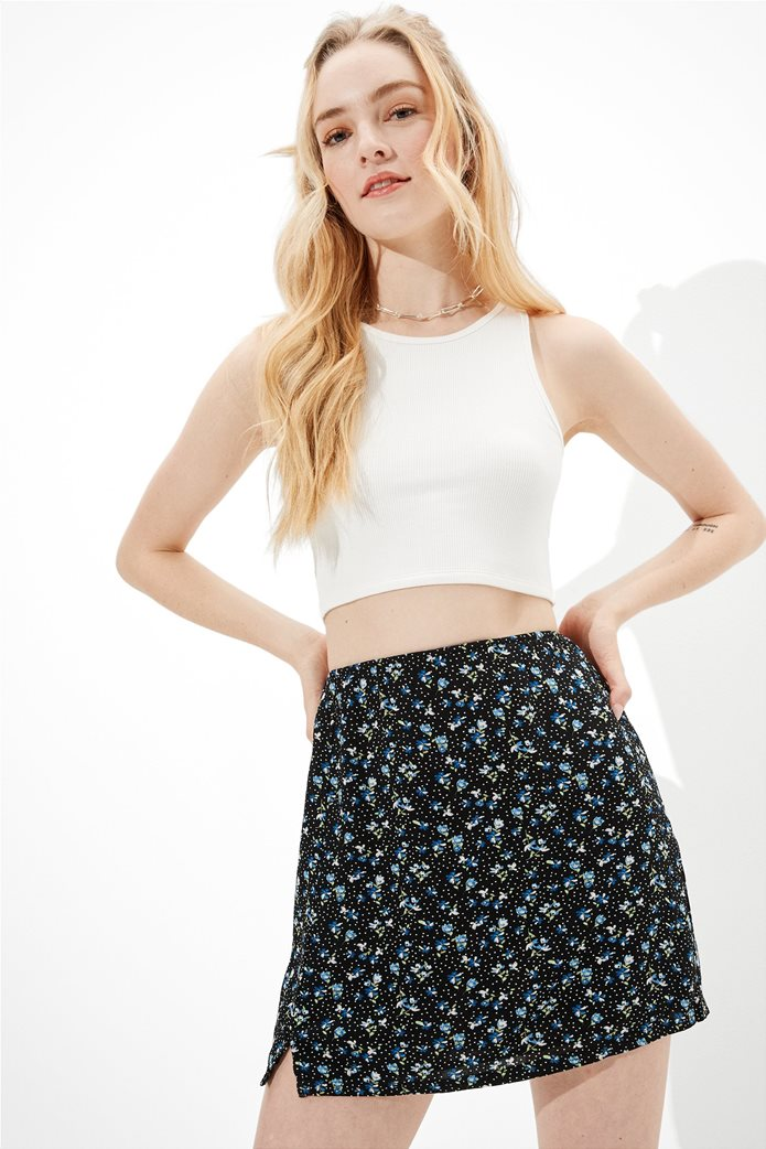 AE Floral Notched Mini Skirt Μαύρο 0