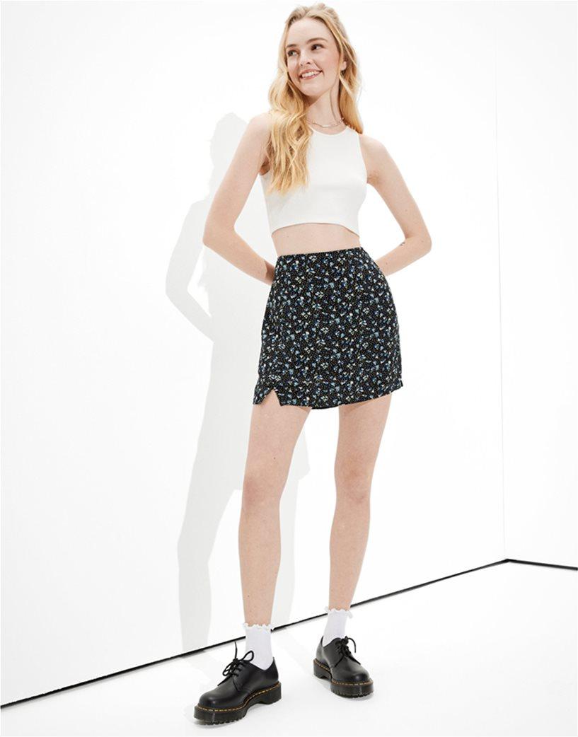 AE Floral Notched Mini Skirt Μαύρο 1