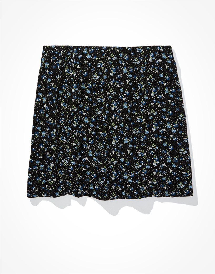 AE Floral Notched Mini Skirt Μαύρο 3