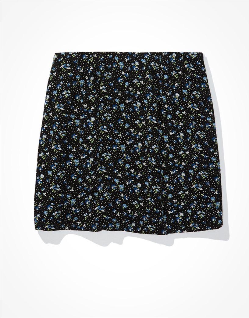 AE Floral Notched Mini Skirt Μαύρο 4