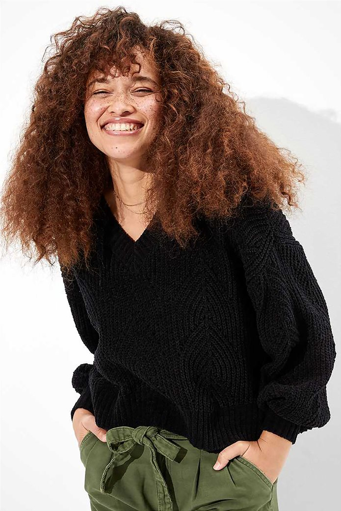 AE Chenille Pointelle V-Neck Sweater 0