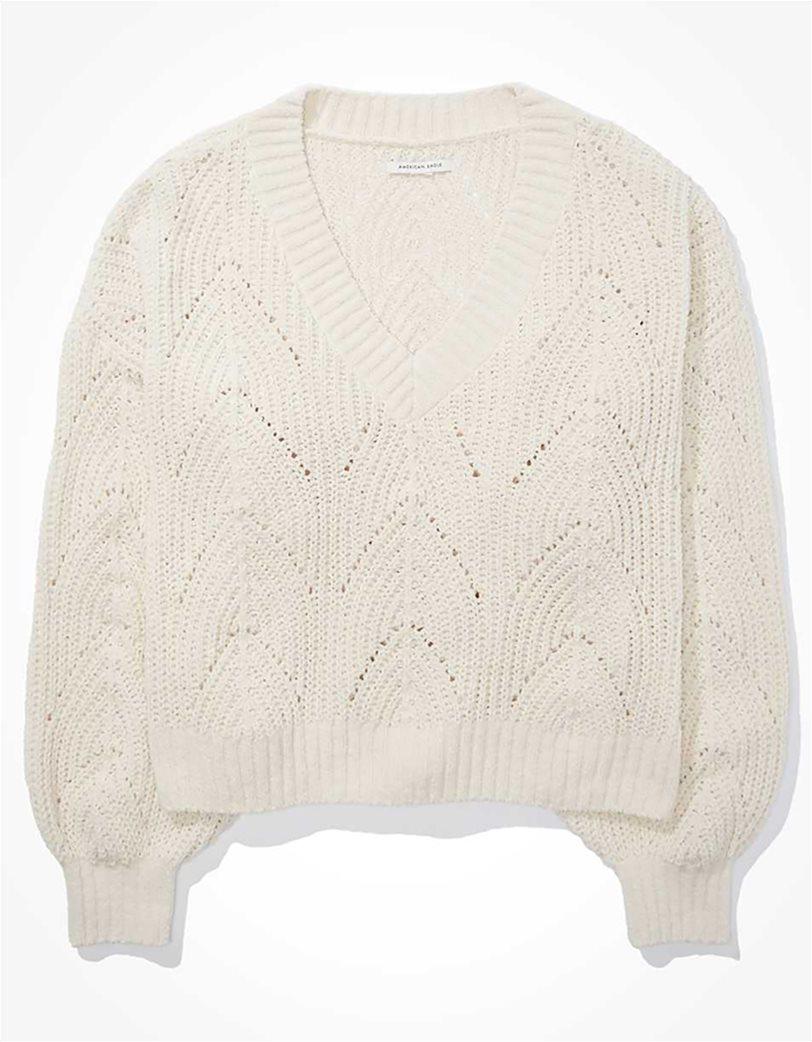 AE Chenille Pointelle V-Neck Sweater 2