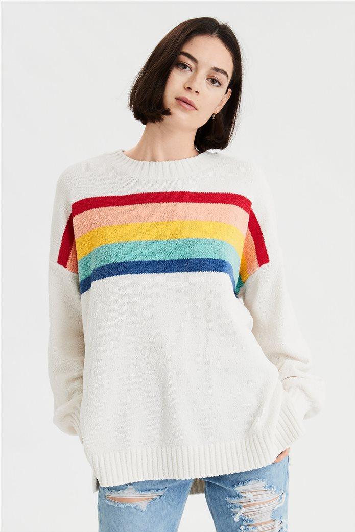 AE Chenille Striped Crew Neck Oversized Sweater 0