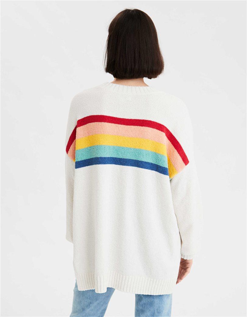 AE Chenille Striped Crew Neck Oversized Sweater 1
