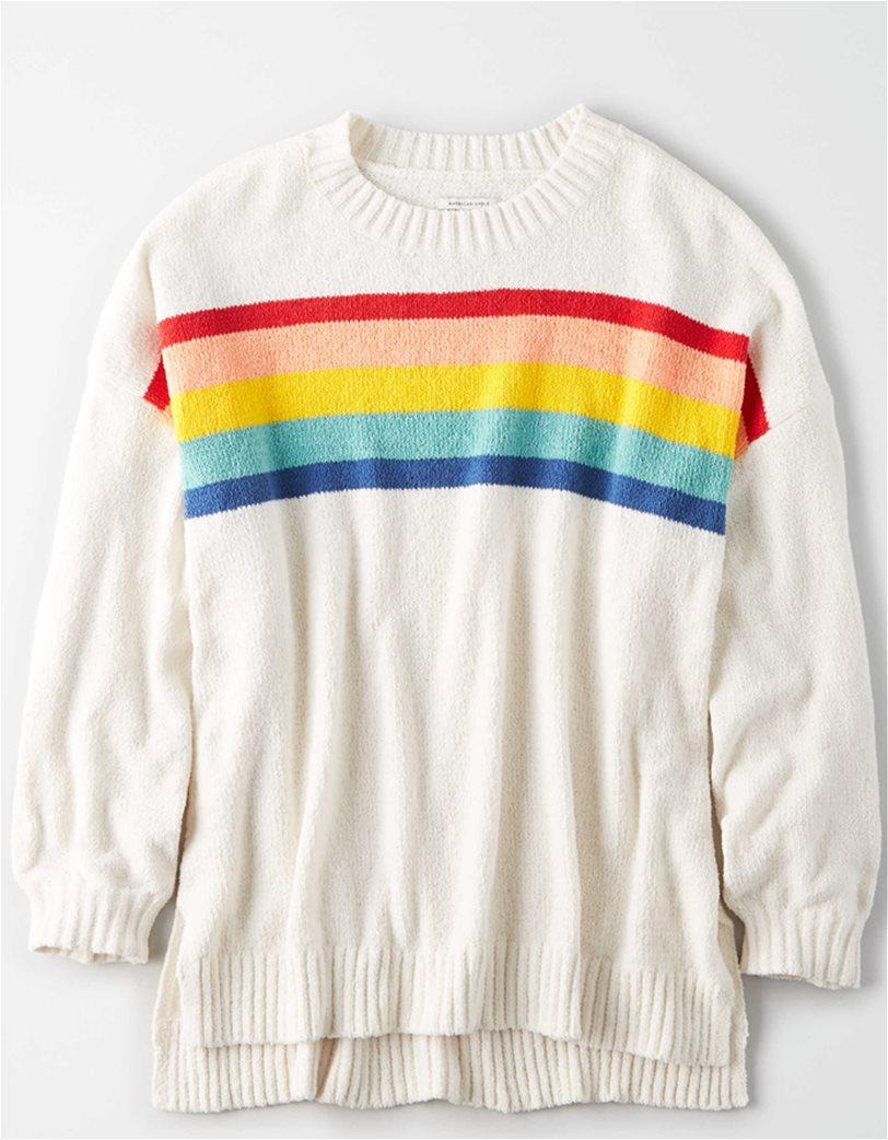 AE Chenille Striped Crew Neck Oversized Sweater 2