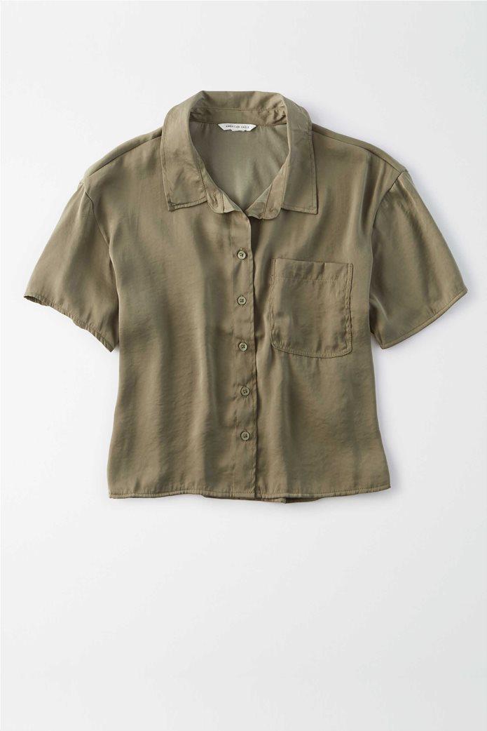 AE Silky Short Sleeve Button Up Shirt 0