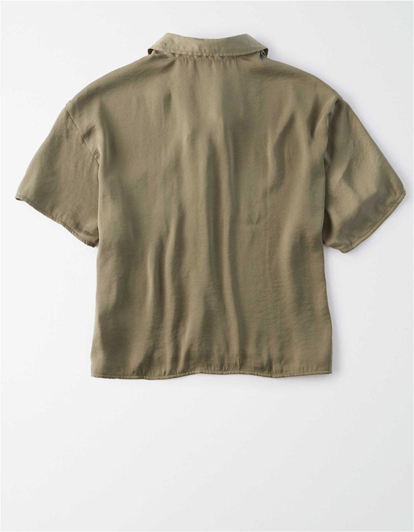 AE Silky Short Sleeve Button Up Shirt 1