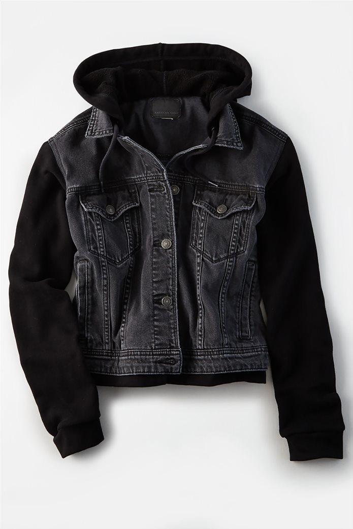 AE Fleece Sleeve Black Denim Jacket 0