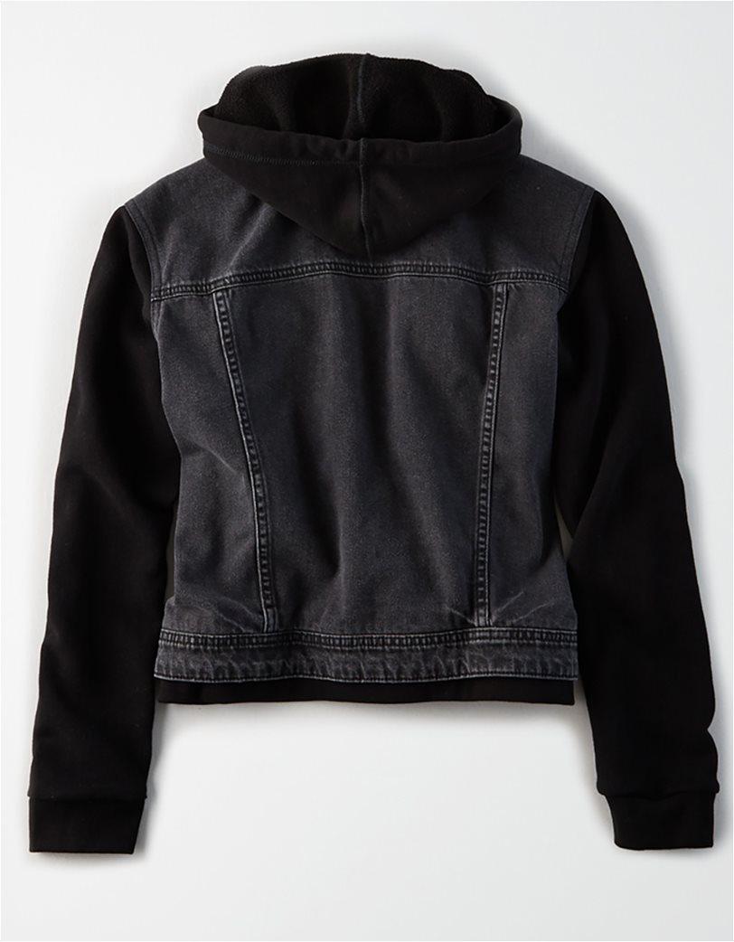 AE Fleece Sleeve Black Denim Jacket 1