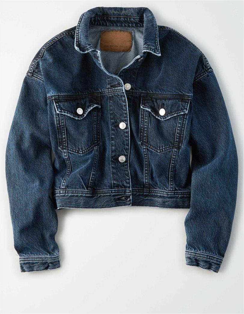 AE Cropped Dark Wash Denim Jacket 2