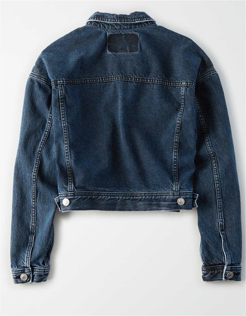 AE Cropped Dark Wash Denim Jacket 3