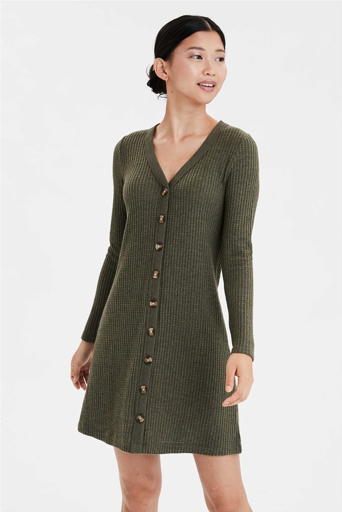 AE Plush Long Sleeve Button Front Dress 0