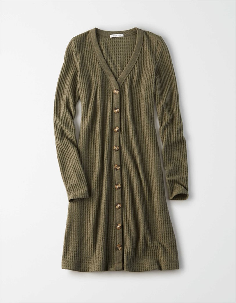 AE Plush Long Sleeve Button Front Dress 2