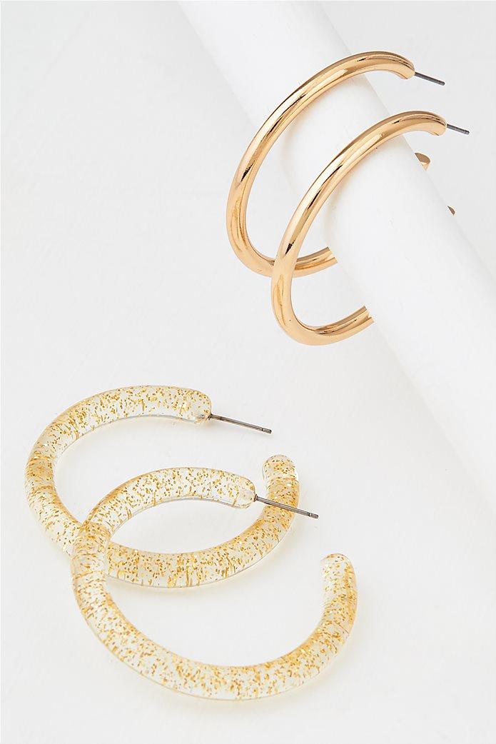 AEO Glitter + Gold Hoop Earrings 2-Pack 0