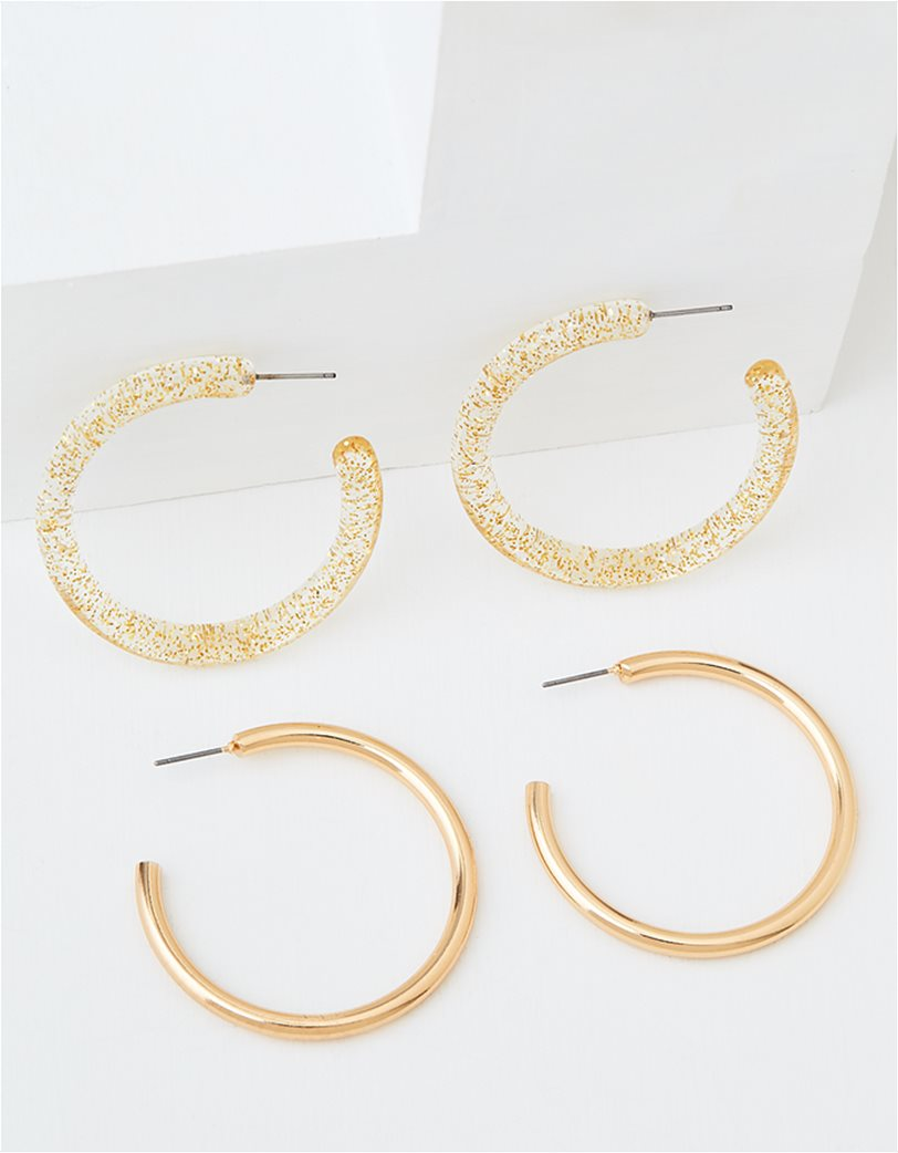 AEO Glitter + Gold Hoop Earrings 2-Pack 1