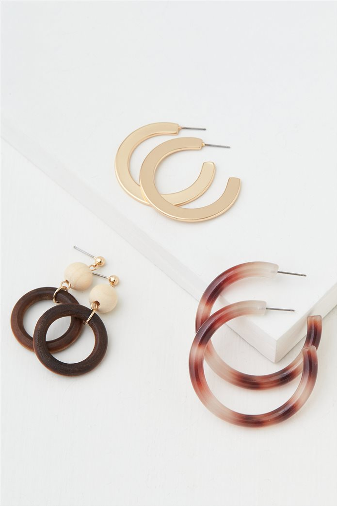 AEO Natural + Gold Hoop Earrings 3-Pack 0