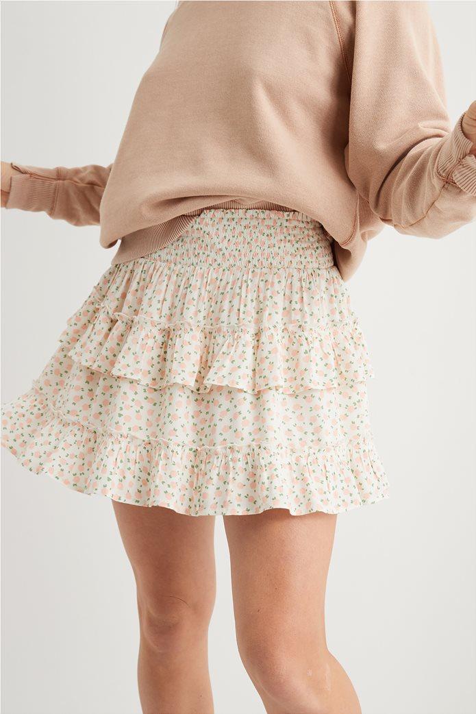 Aerie Ruffle Mini Skirt Εκρού 0