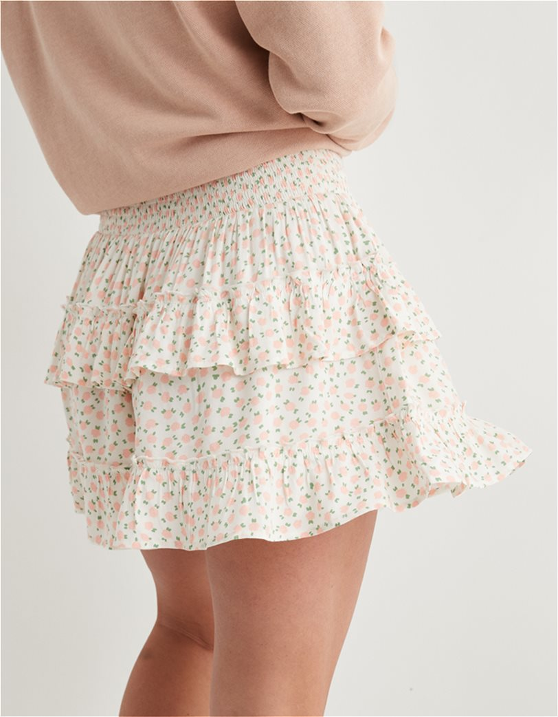 Aerie Ruffle Mini Skirt Εκρού 1