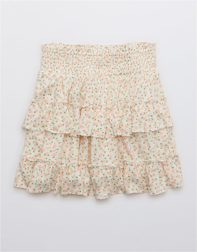 Aerie Ruffle Mini Skirt Εκρού 2