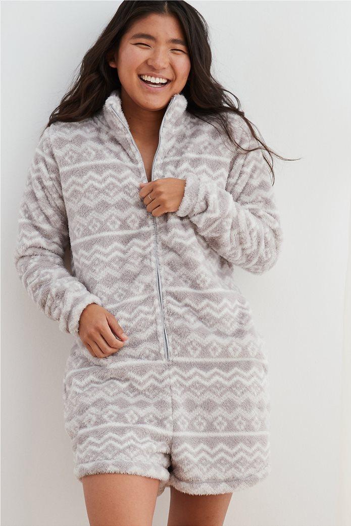 Aerie Fuzzy Sherpa Sleep Romper 0