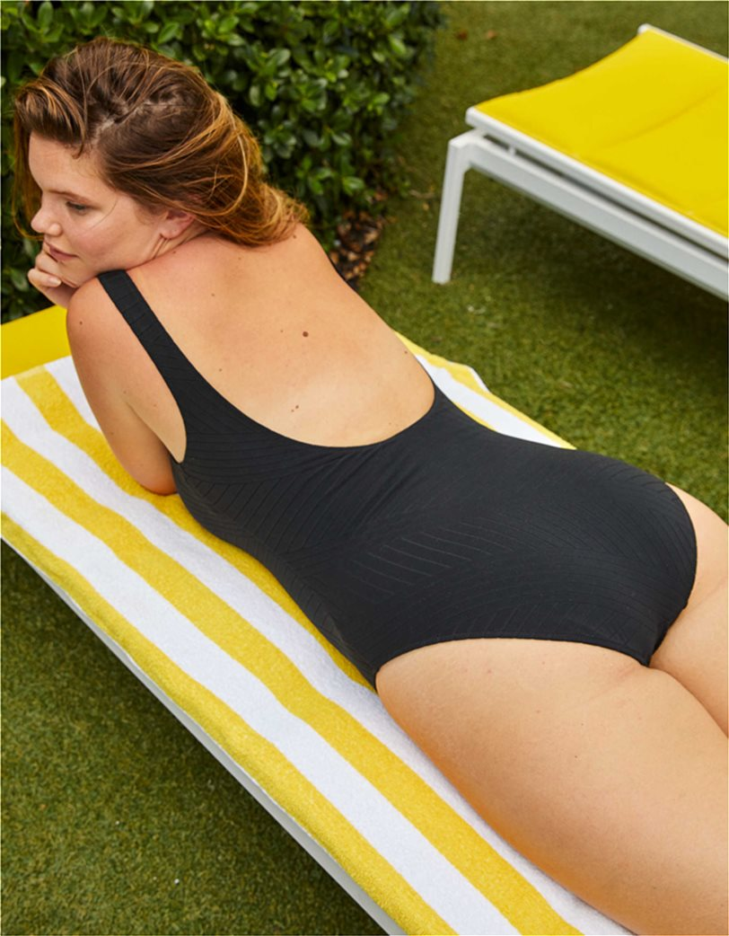 Aerie XO Ribbed Henley One Piece Swimsuit Μαύρο 2