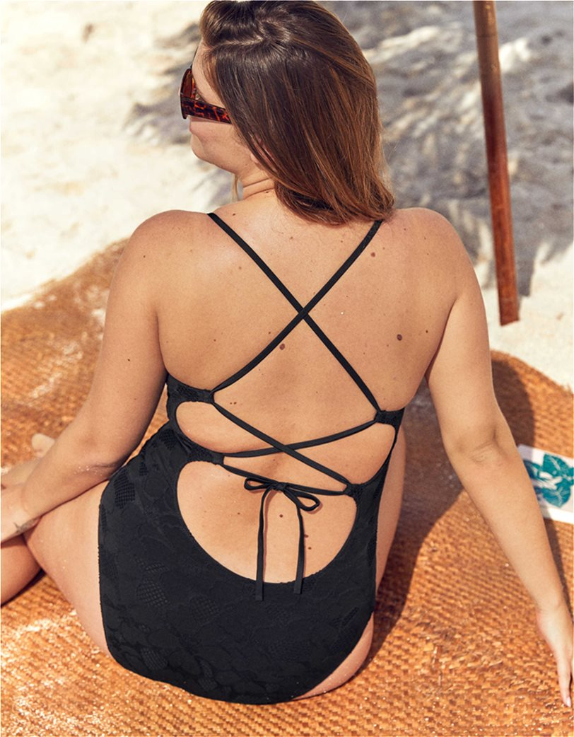 Aerie Jacquard Strappy Back One Piece Swimsuit 1