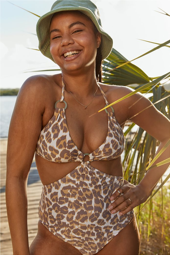 Aerie Leopard Cut Out Ring One Piece Swimsuit Καφέ 0