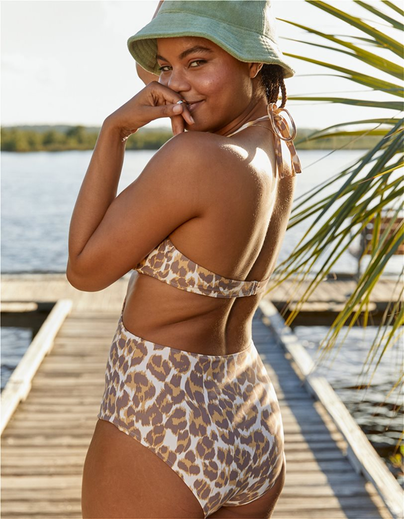 Aerie Leopard Cut Out Ring One Piece Swimsuit Καφέ 3