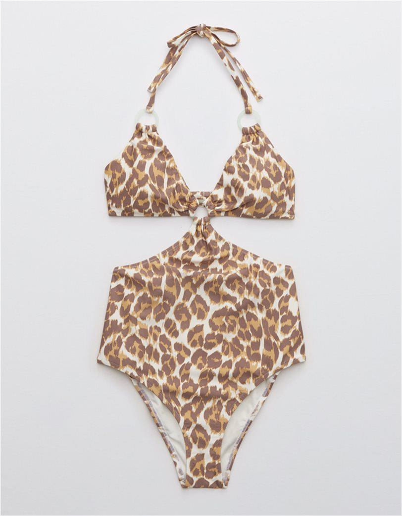Aerie Leopard Cut Out Ring One Piece Swimsuit Καφέ 4