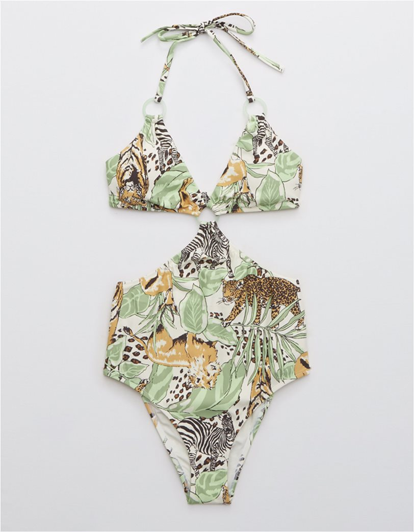 Aerie Printed Cut Out Ring One Piece Swimsuit Λαδί 3