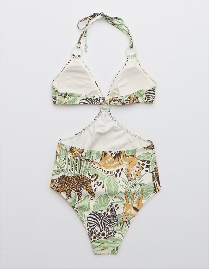 Aerie Printed Cut Out Ring One Piece Swimsuit Λαδί 4