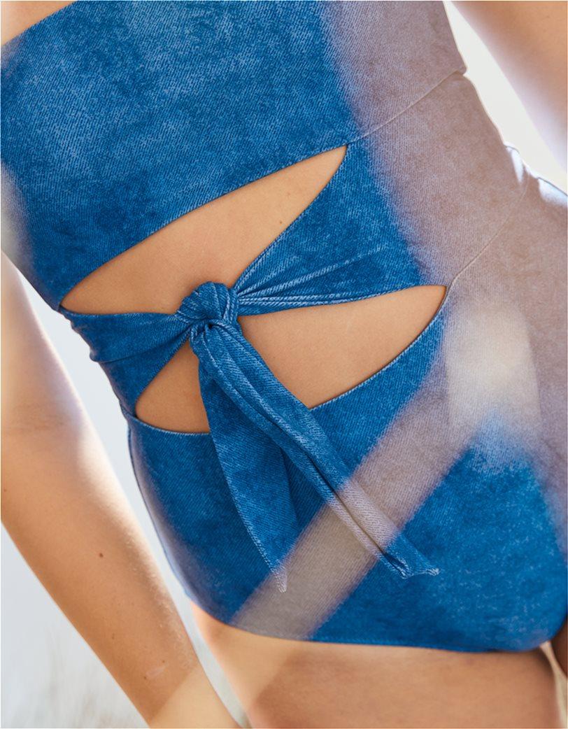 Aerie Wrap Bandeau One Piece Swimsuit Γαλάζιο 1