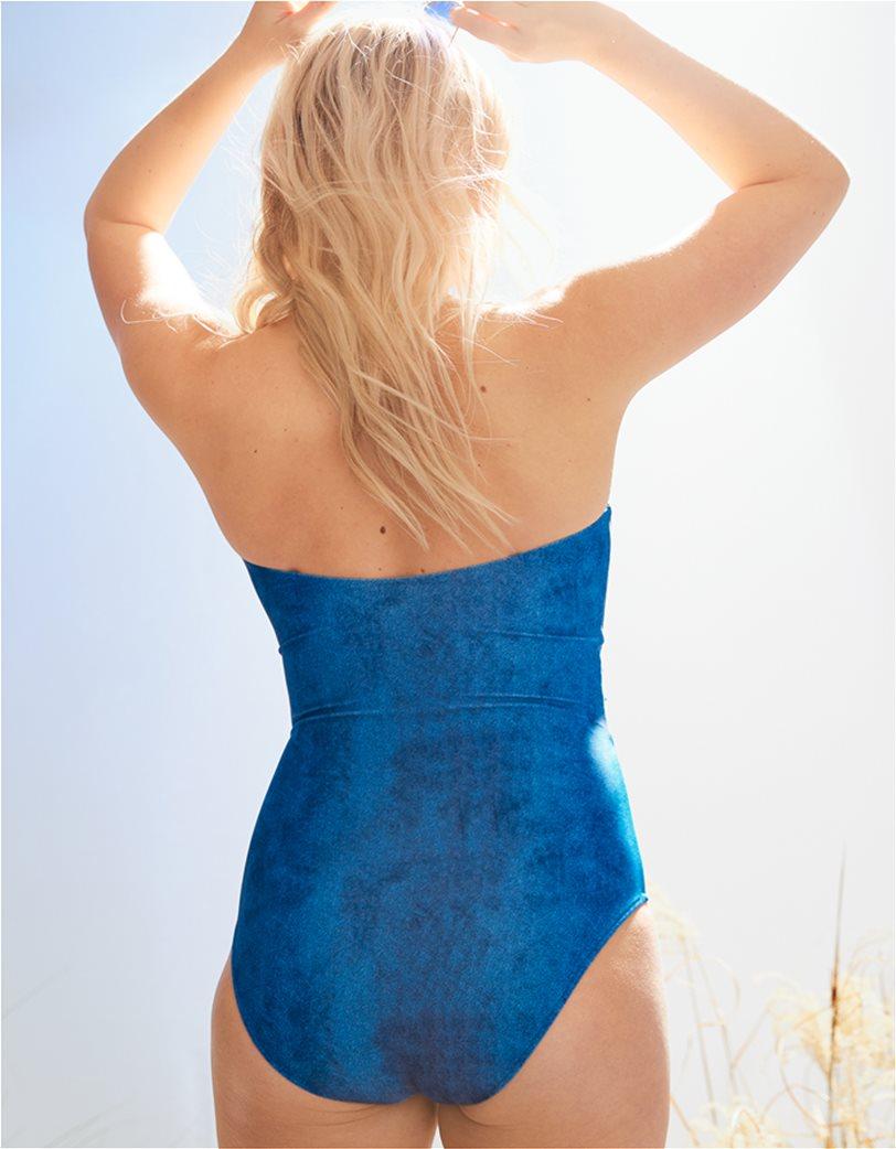 Aerie Wrap Bandeau One Piece Swimsuit Γαλάζιο 2