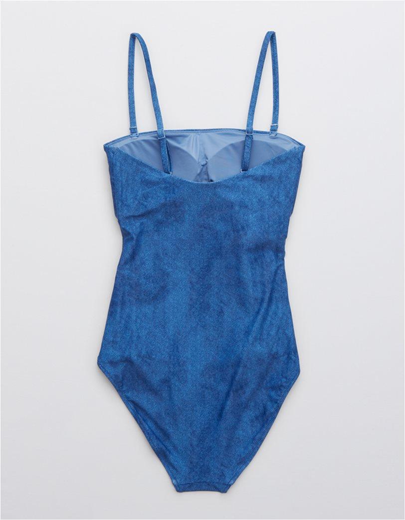 Aerie Wrap Bandeau One Piece Swimsuit Γαλάζιο 4