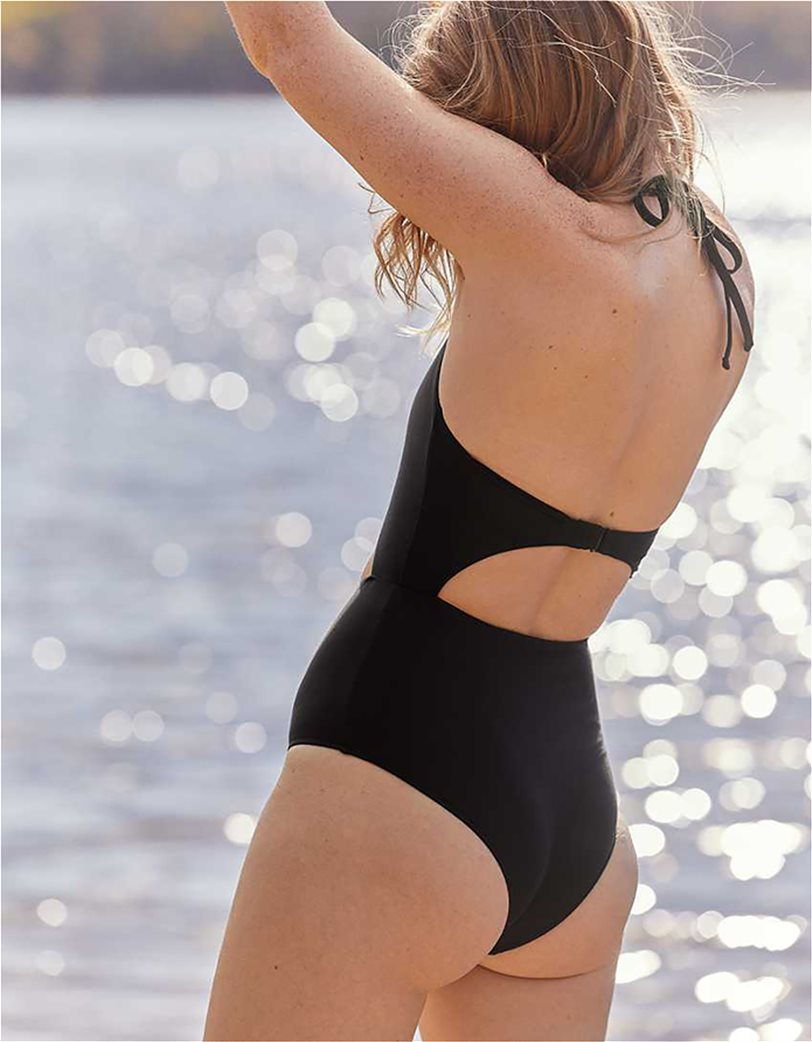 Aerie Cut Out One Piece Swimsuit Μαύρο 2