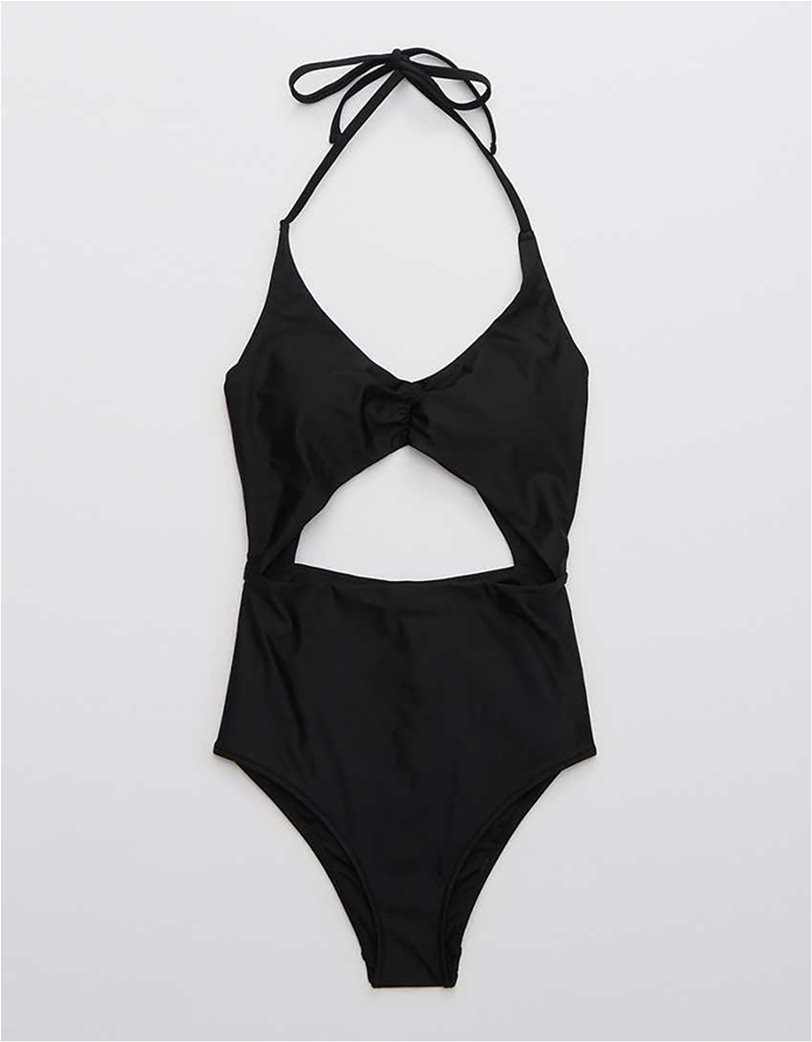 Aerie Cut Out One Piece Swimsuit Μαύρο 3